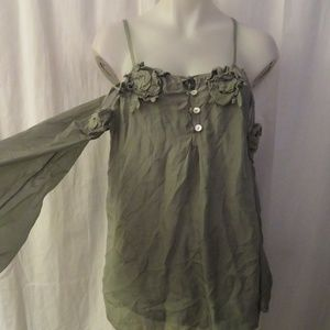 LOLA ITALY SAGE SILK COLD SHOULDER ROSES BLOUSE S